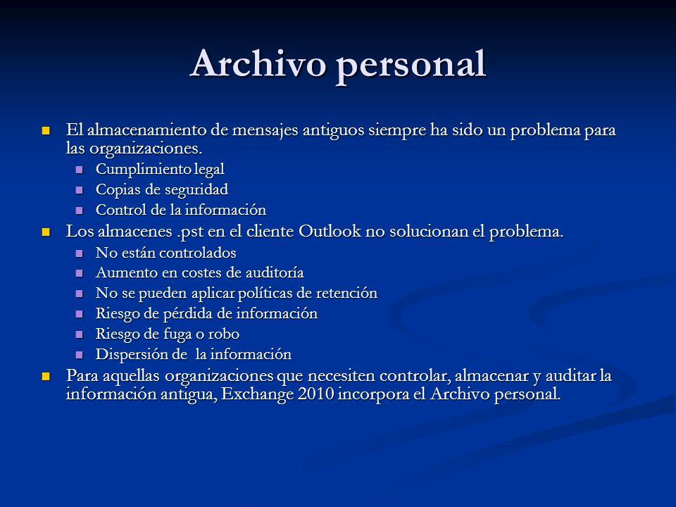 Archivo personalEl almacenamiento de mensajes antiguos siempre ha sido un problema para las organizaciones.