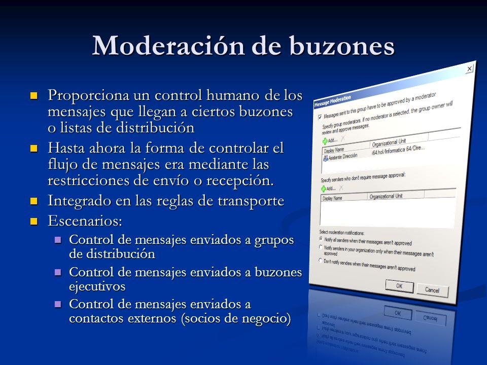 Moderación de buzones Proporciona un control humano de los mensajes que llegan a ciertos buzones o listas de distribución.