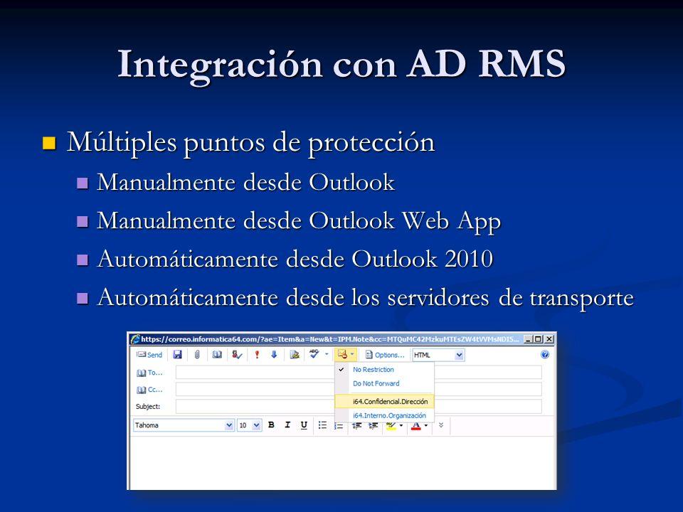 Integración con AD RMS Múltiples puntos de protección