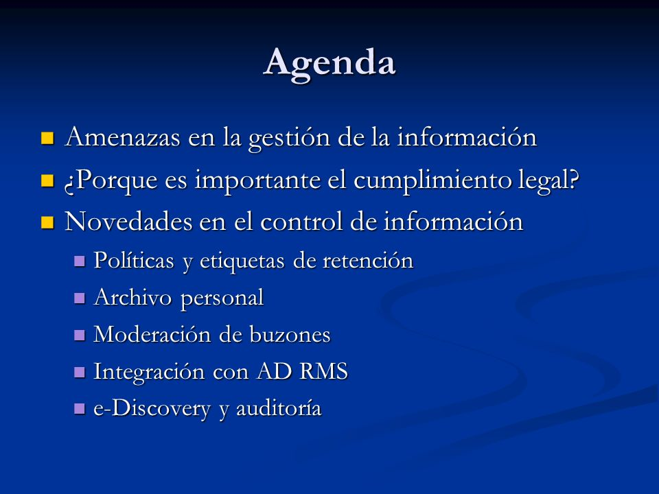 Agenda Amenazas en la gestión de la información