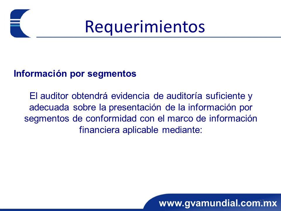 Requerimientos Información por segmentos