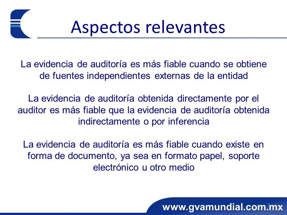 Aspectos relevantes La evidencia de auditoría es más fiable cuando se obtiene de fuentes independientes externas de la entidad.