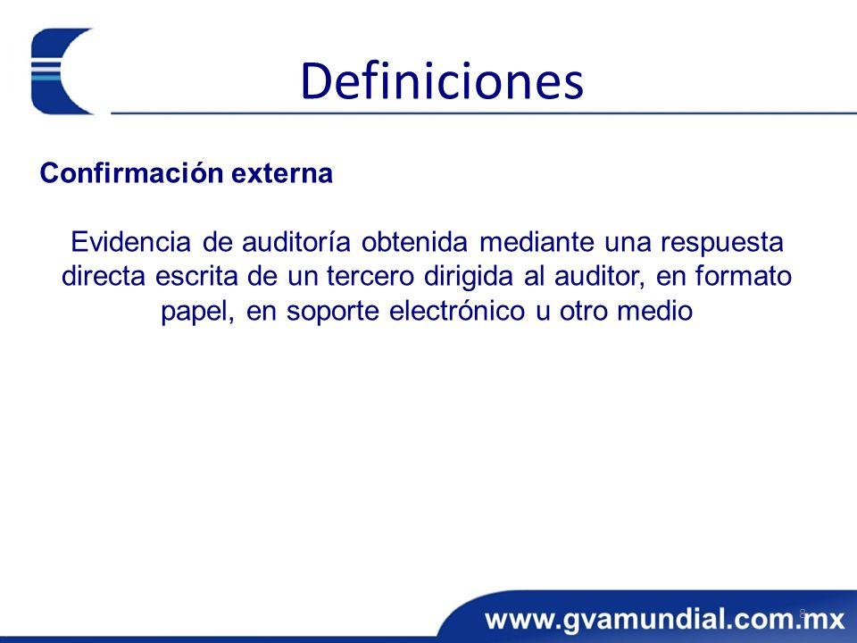 Definiciones Confirmación externa