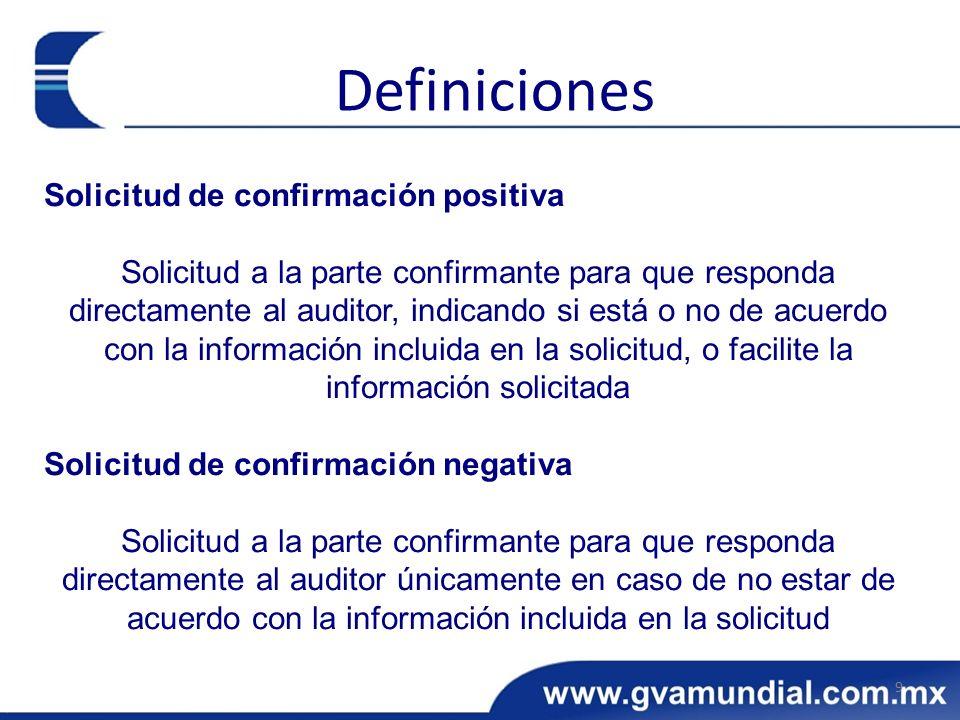 Definiciones Solicitud de confirmación positiva