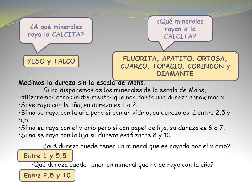 ¿Qué minerales rayan a la CALCITA ¿A qué minerales raya la CALCITA