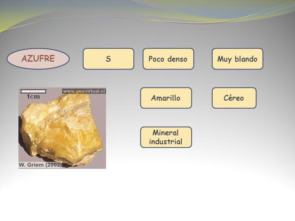 AZUFRE S Poco denso Muy blando Amarillo Céreo Mineral industrial