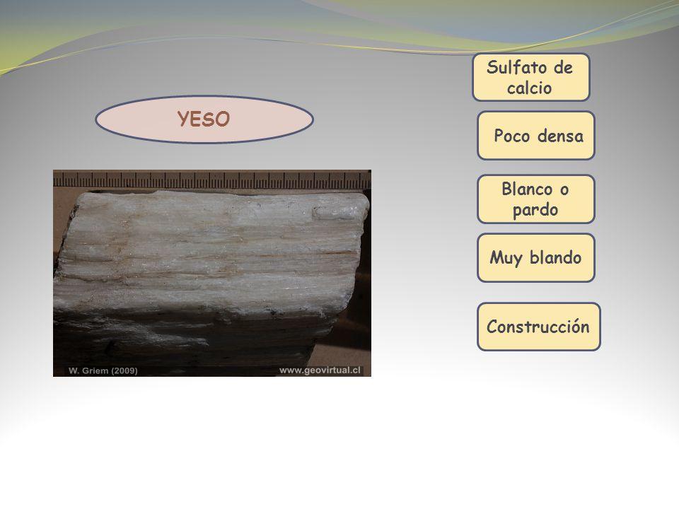 YESO Sulfato de calcio Poco densa Blanco o pardo Muy blando