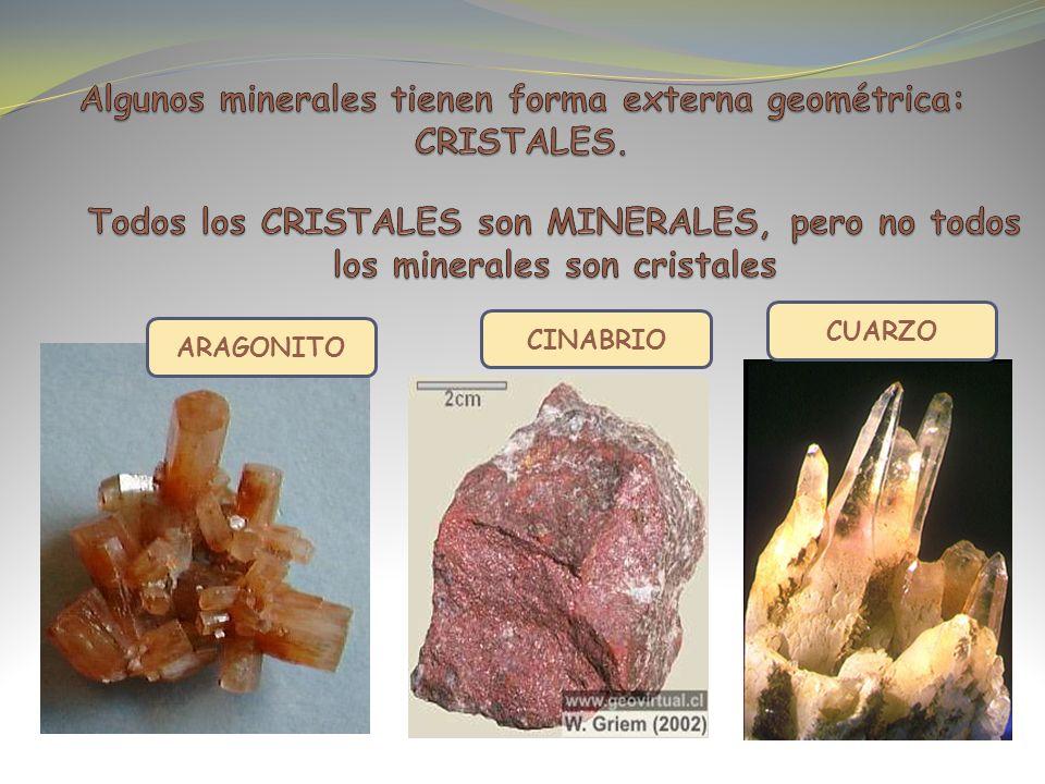 Algunos minerales tienen forma externa geométrica: CRISTALES.