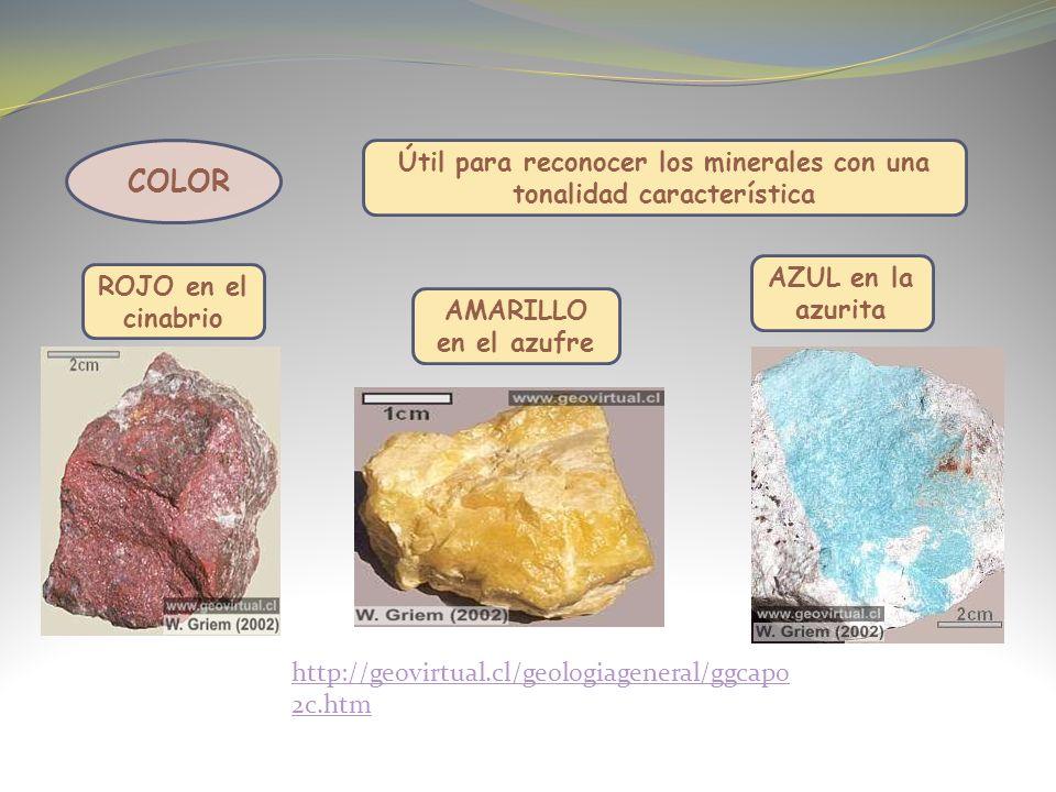 Útil para reconocer los minerales con una tonalidad característica