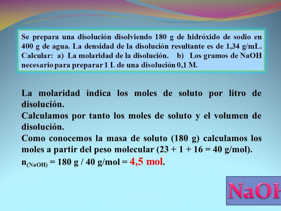 NaOH La molaridad indica los moles de soluto por litro de disolución.
