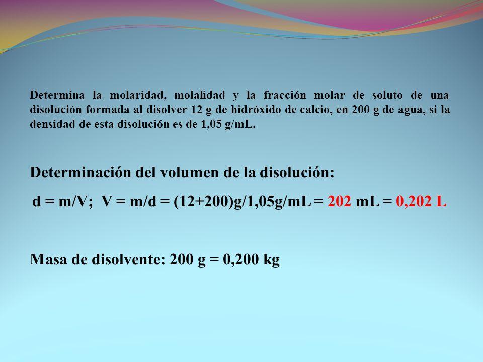 d = m/V; V = m/d = (12+200)g/1,05g/mL = 202 mL = 0,202 L