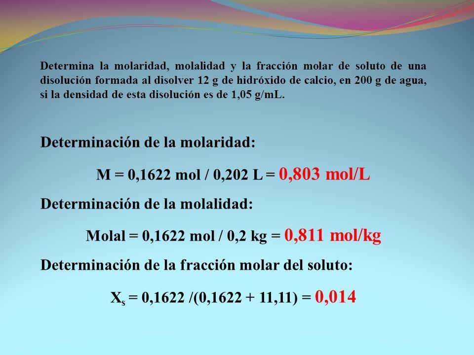 Determinación de la molaridad: M = 0,1622 mol / 0,202 L = 0,803 mol/L