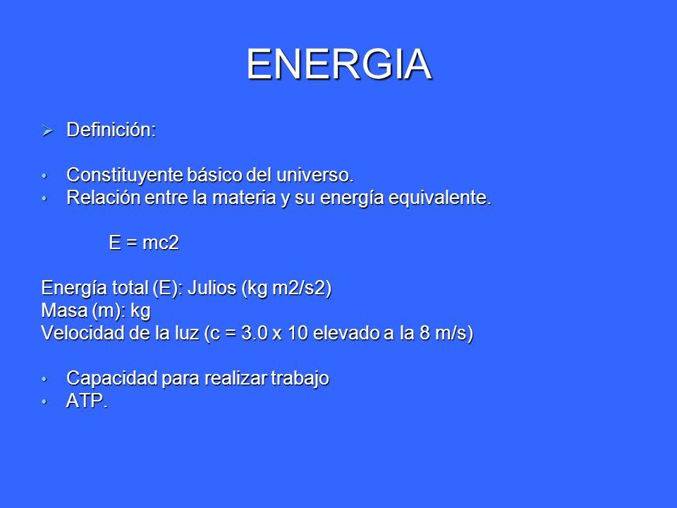 ENERGIA Definición: Constituyente básico del universo.