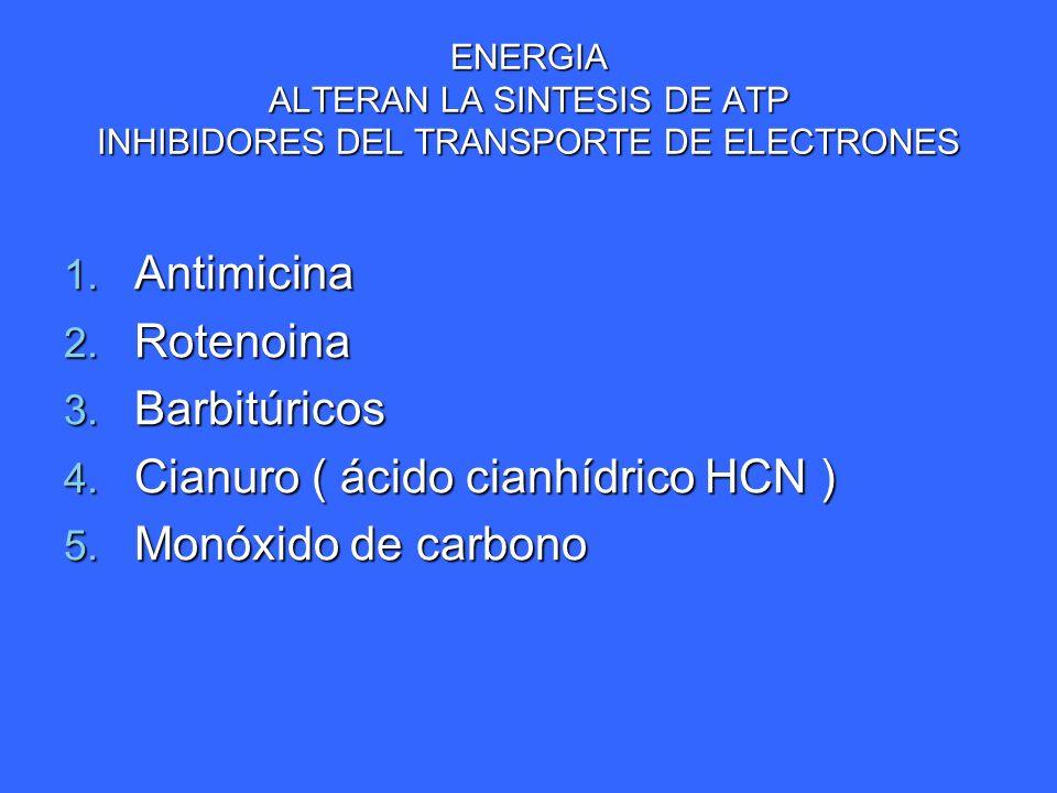 Cianuro ( ácido cianhídrico HCN ) Monóxido de carbono