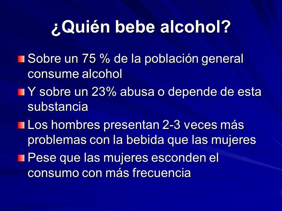 ¿Quién bebe alcohol Sobre un 75 % de la población general consume alcohol. Y sobre un 23% abusa o depende de esta substancia.