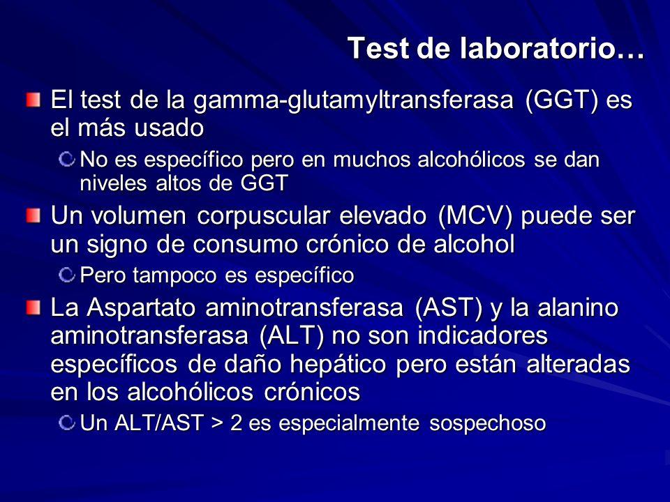Test de laboratorio… El test de la gamma-glutamyltransferasa (GGT) es el más usado.