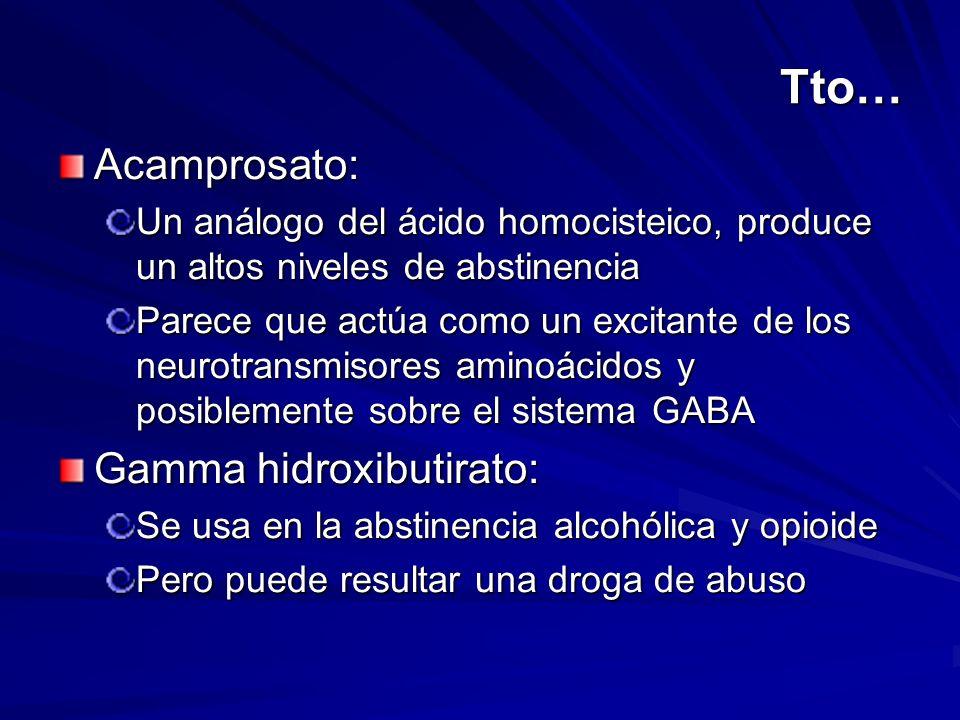 Tto… Acamprosato: Gamma hidroxibutirato: