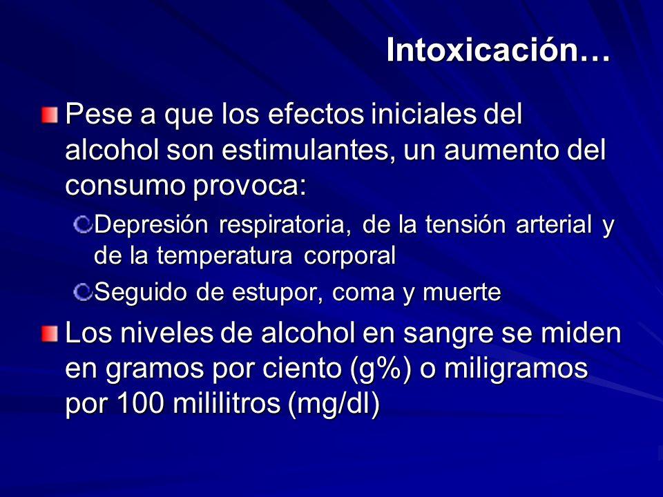 Intoxicación… Pese a que los efectos iniciales del alcohol son estimulantes, un aumento del consumo provoca: