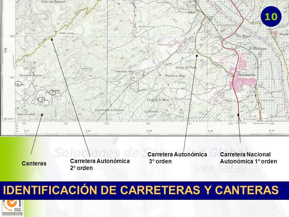 IDENTIFICACIÓN DE CARRETERAS Y CANTERAS