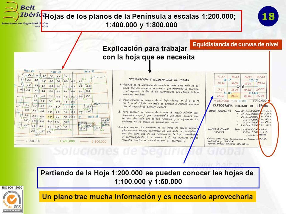 18 Hojas de los planos de la Península a escalas 1:200.000;