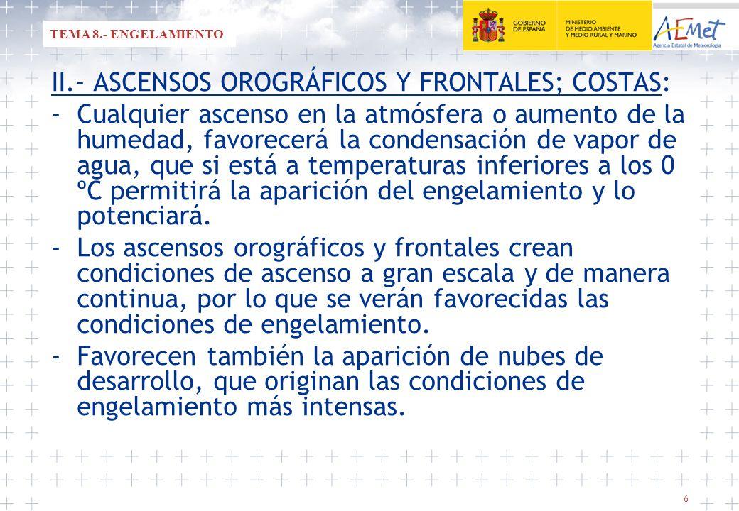 II.- ASCENSOS OROGRÁFICOS Y FRONTALES; COSTAS: