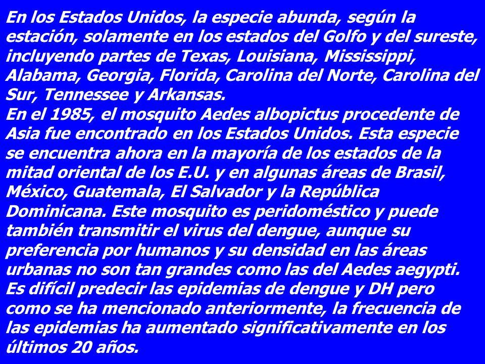 En los Estados Unidos, la especie abunda, según la estación, solamente en los estados del Golfo y del sureste, incluyendo partes de Texas, Louisiana, Mississippi, Alabama, Georgia, Florida, Carolina del Norte, Carolina del Sur, Tennessee y Arkansas. En el 1985, el mosquito Aedes albopictus procedente de Asia fue encontrado en los Estados Unidos.
