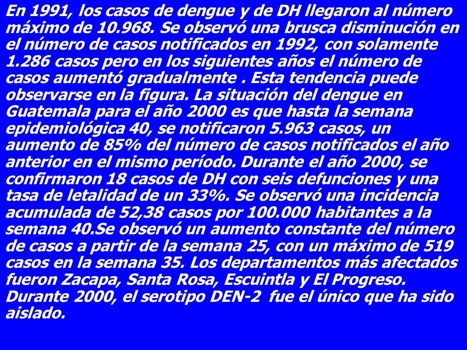 En 1991, los casos de dengue y de DH llegaron al número máximo de 10