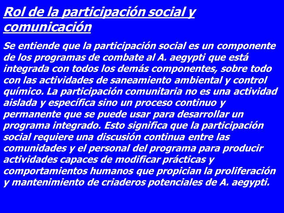 Rol de la participación social y comunicación