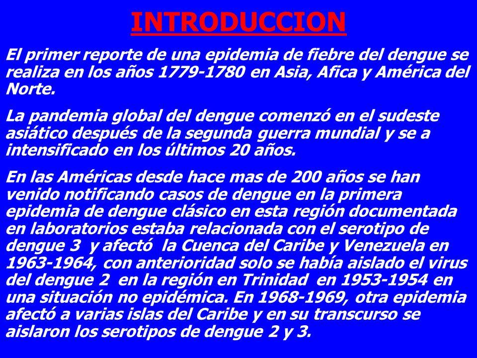 INTRODUCCION El primer reporte de una epidemia de fiebre del dengue se realiza en los años 1779-1780 en Asia, Afica y América del Norte.