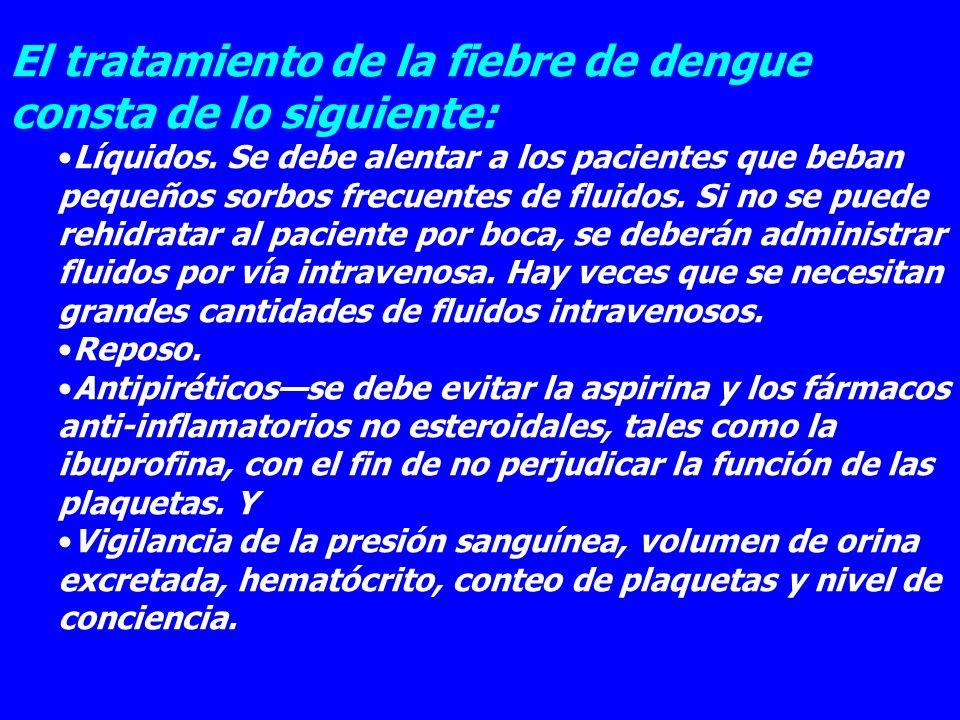 El tratamiento de la fiebre de dengue consta de lo siguiente: