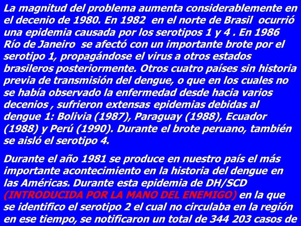 La magnitud del problema aumenta considerablemente en el decenio de 1980. En 1982 en el norte de Brasil ocurrió una epidemia causada por los serotipos 1 y 4 . En 1986 Río de Janeiro se afectó con un importante brote por el serotipo 1, propagándose el virus a otros estados brasileros posteriormente. Otros cuatro países sin historia previa de transmisión del dengue, o que en los cuales no se había observado la enfermedad desde hacia varios decenios , sufrieron extensas epidemias debidas al dengue 1: Bolivia (1987), Paraguay (1988), Ecuador (1988) y Perú (1990). Durante el brote peruano, también se aisló el serotipo 4.