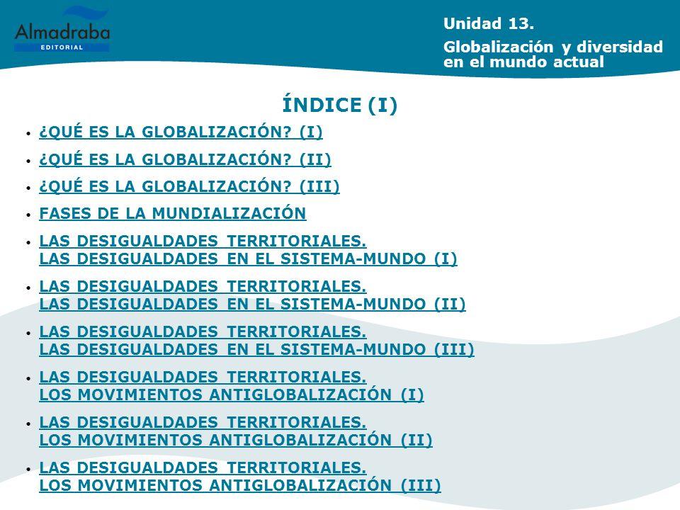 ÍNDICE (I) Unidad 13. Globalización y diversidad en el mundo actual