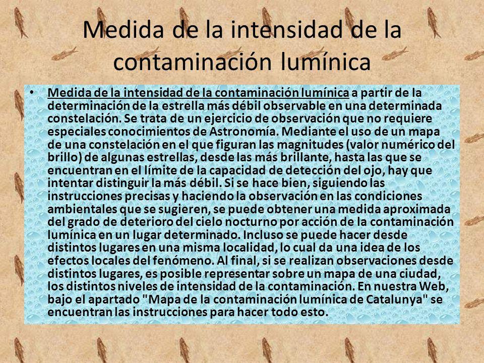 Medida de la intensidad de la contaminación lumínica