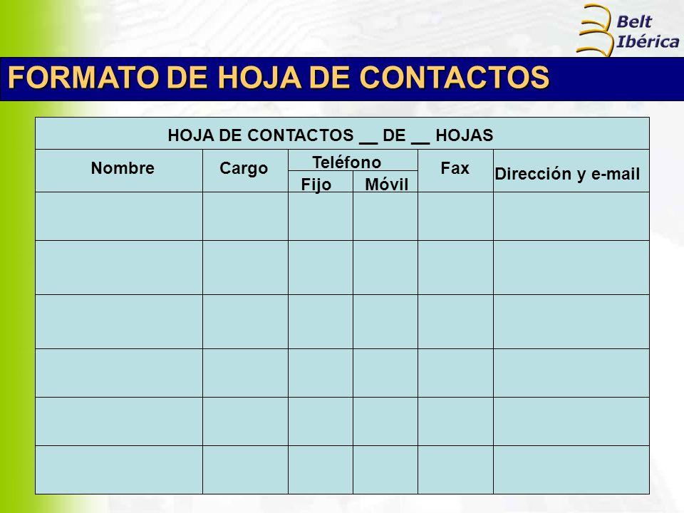 HOJA DE CONTACTOS __ DE __ HOJAS
