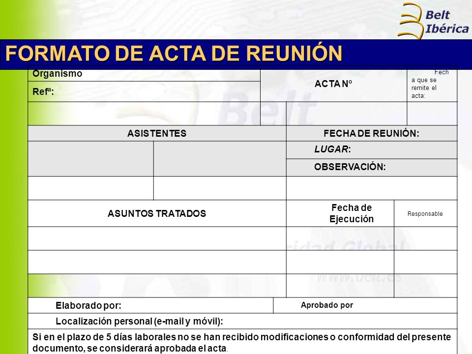 FORMATO DE ACTA DE REUNIÓN