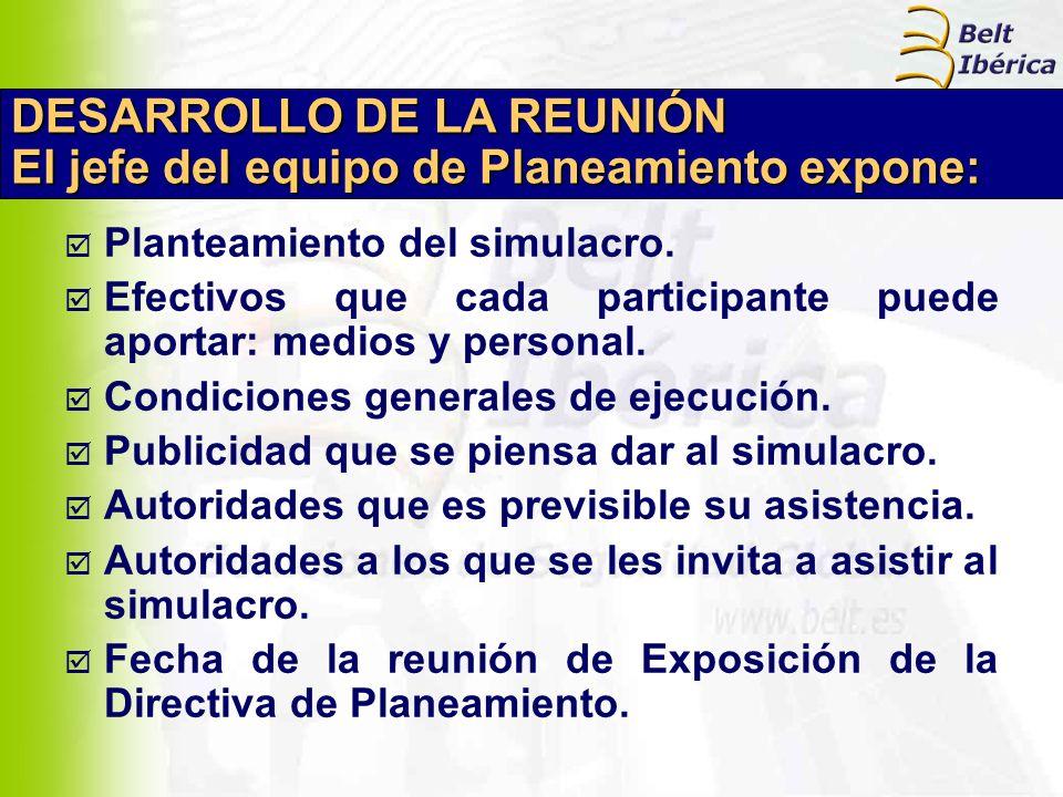 DESARROLLO DE LA REUNIÓN El jefe del equipo de Planeamiento expone: