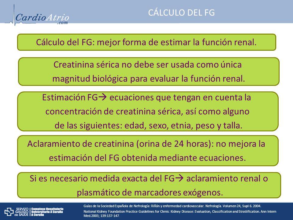 Cálculo del FG: mejor forma de estimar la función renal.