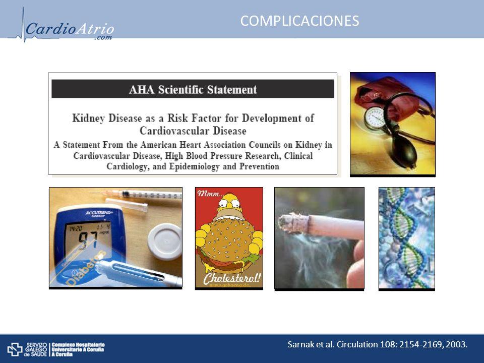 COMPLICACIONES Sarnak et al. Circulation 108: 2154-2169, 2003.