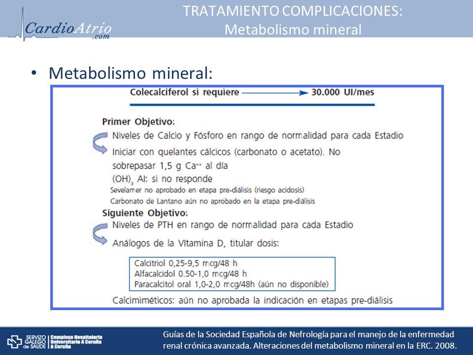 TRATAMIENTO COMPLICACIONES: Metabolismo mineral