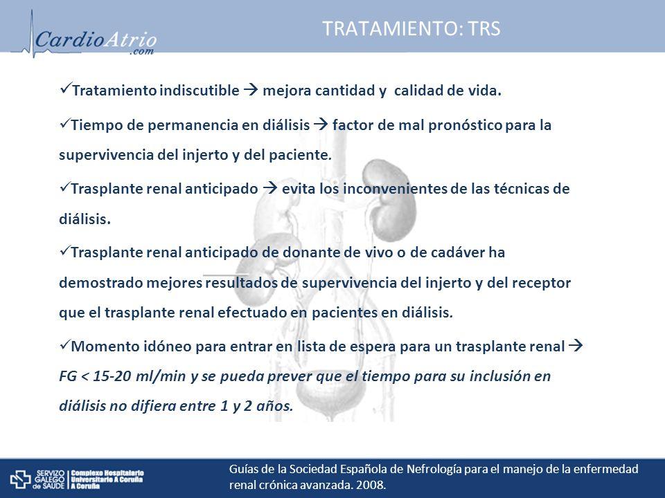 TRATAMIENTO: TRS Tratamiento indiscutible  mejora cantidad y calidad de vida.