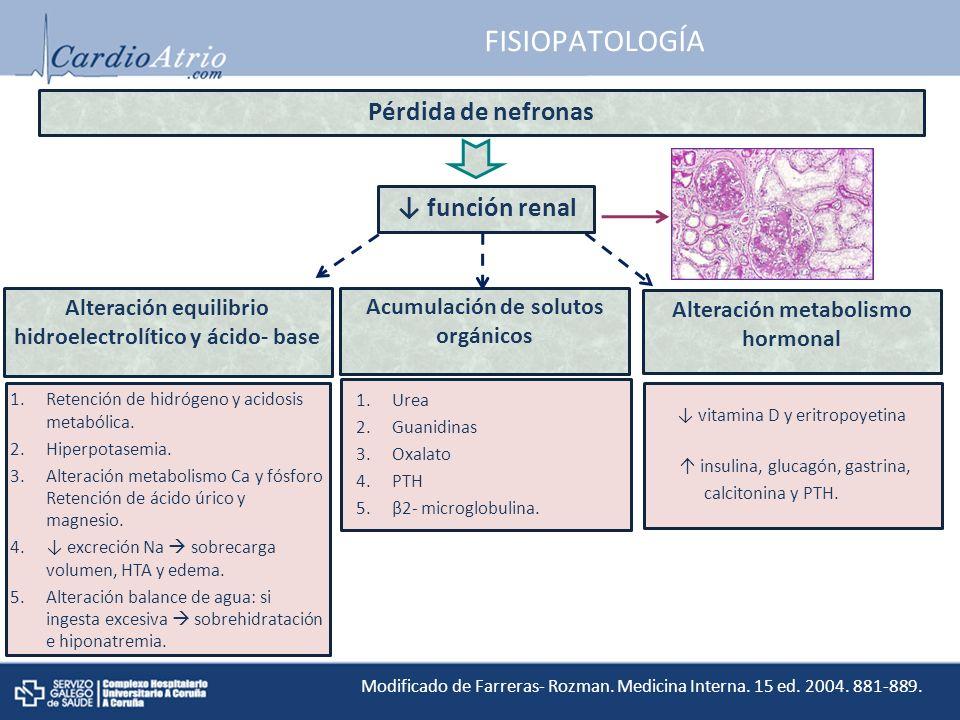 FISIOPATOLOGÍA Pérdida de nefronas ↓ función renal