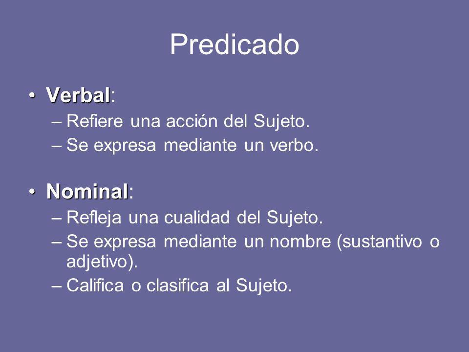 Predicado Verbal: Nominal: Refiere una acción del Sujeto.