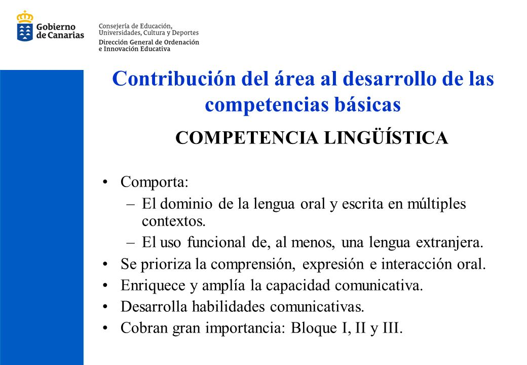 Contribución del área al desarrollo de las competencias básicas