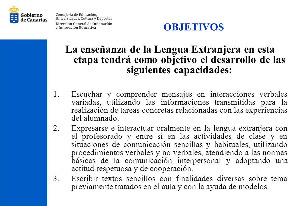 OBJETIVOS La enseñanza de la Lengua Extranjera en esta etapa tendrá como objetivo el desarrollo de las siguientes capacidades:
