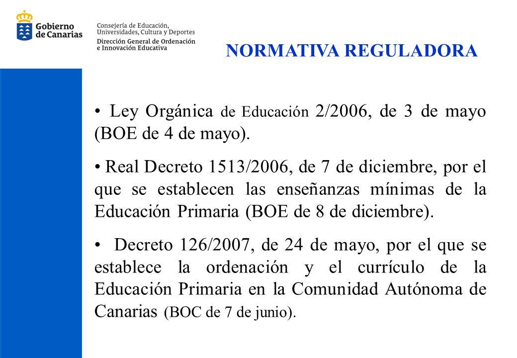 NORMATIVA REGULADORA Ley Orgánica de Educación 2/2006, de 3 de mayo (BOE de 4 de mayo).