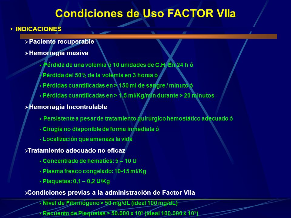 Condiciones de Uso FACTOR VIIa