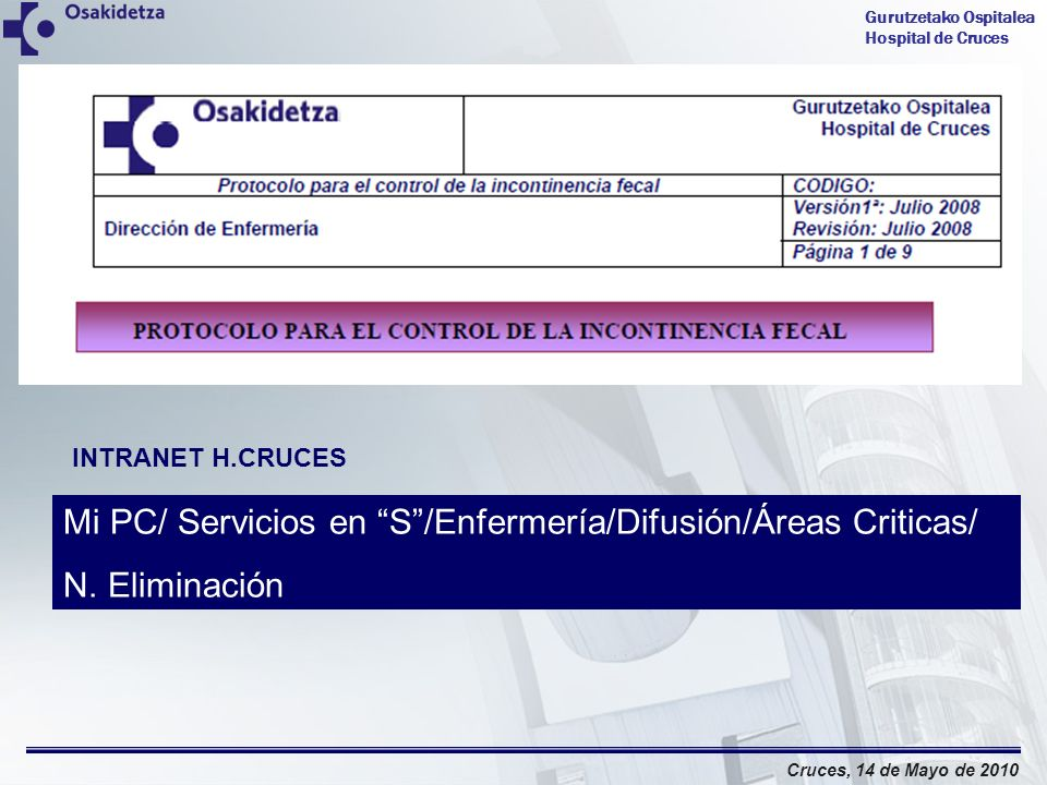 Mi PC/ Servicios en S /Enfermería/Difusión/Áreas Criticas/