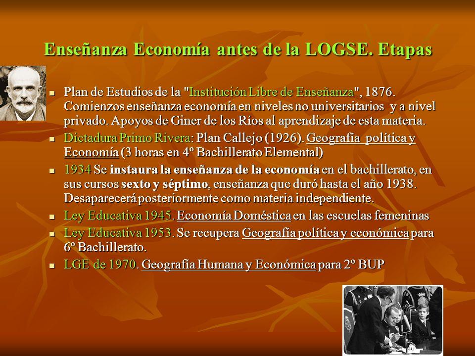 Enseñanza Economía antes de la LOGSE. Etapas