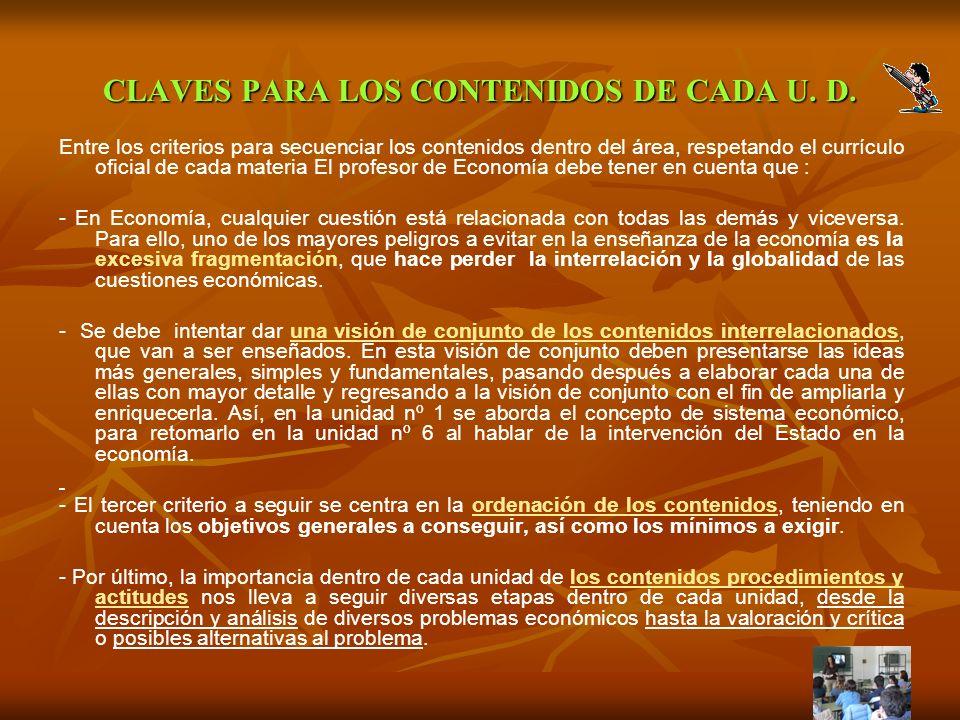 CLAVES PARA LOS CONTENIDOS DE CADA U. D.