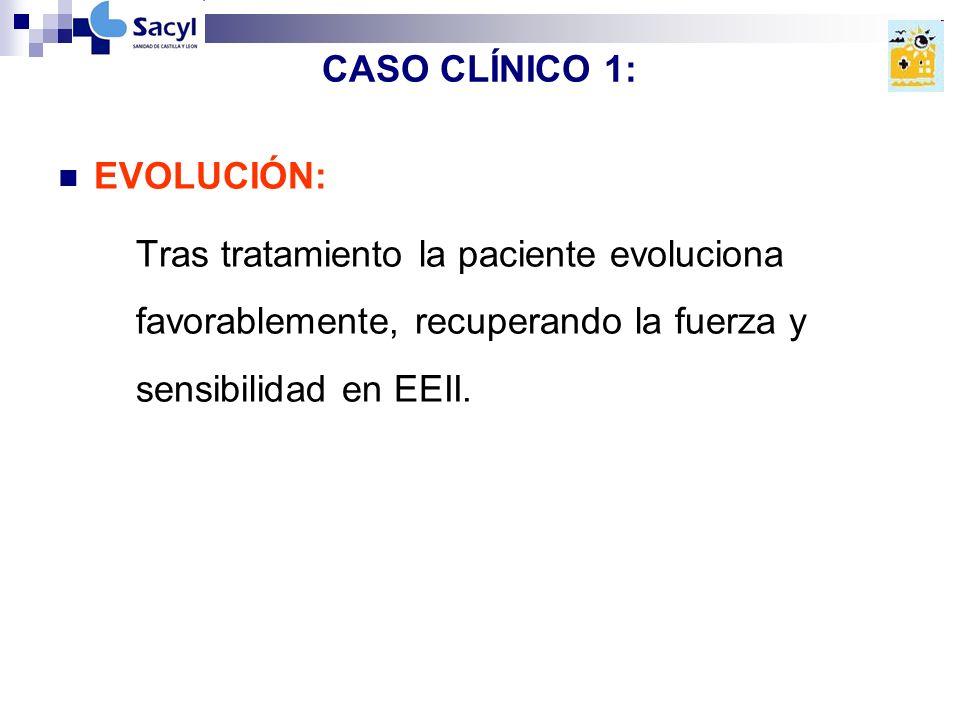 CASO CLÍNICO 1: EVOLUCIÓN: Tras tratamiento la paciente evoluciona favorablemente, recuperando la fuerza y sensibilidad en EEII.